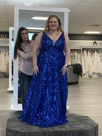 Queenly size 24  Blue Straight evening gown/formal dress