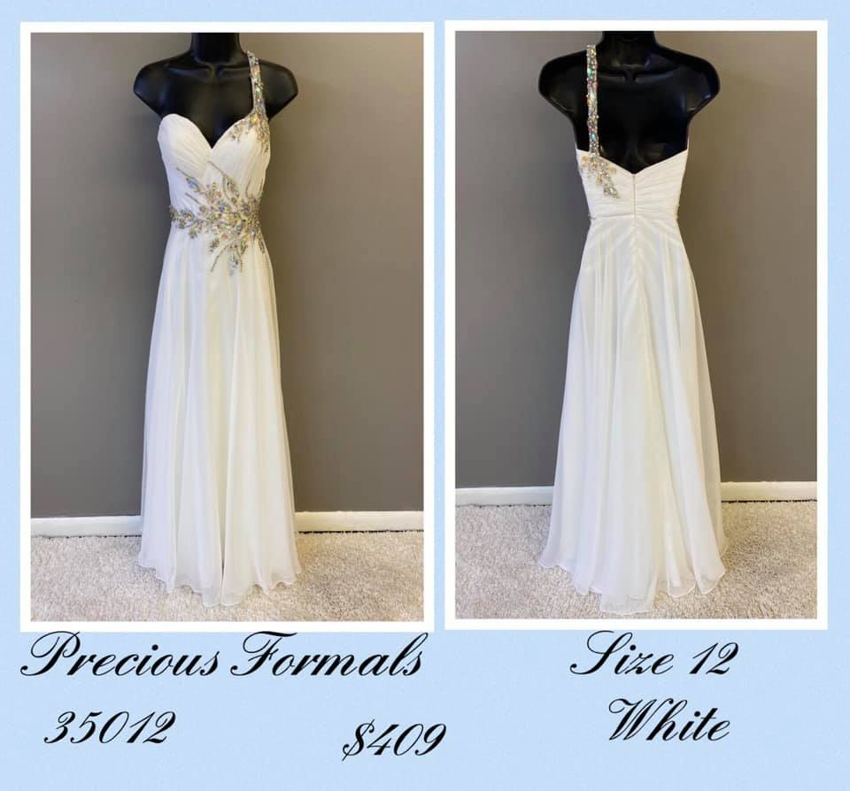 Queenly size 10 Precious Formals White A-line evening gown/formal dress