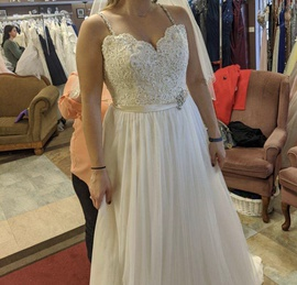 Mori Lee White Size 14 Ivory Wedding A-line Dress on Queenly