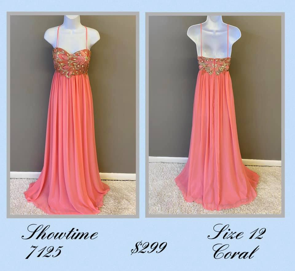 Queenly size 12 Showtime Orange A-line evening gown/formal dress