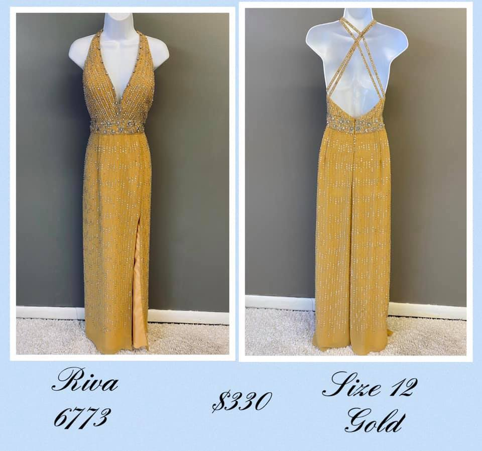 Queenly size 12 Riva Gold A-line evening gown/formal dress