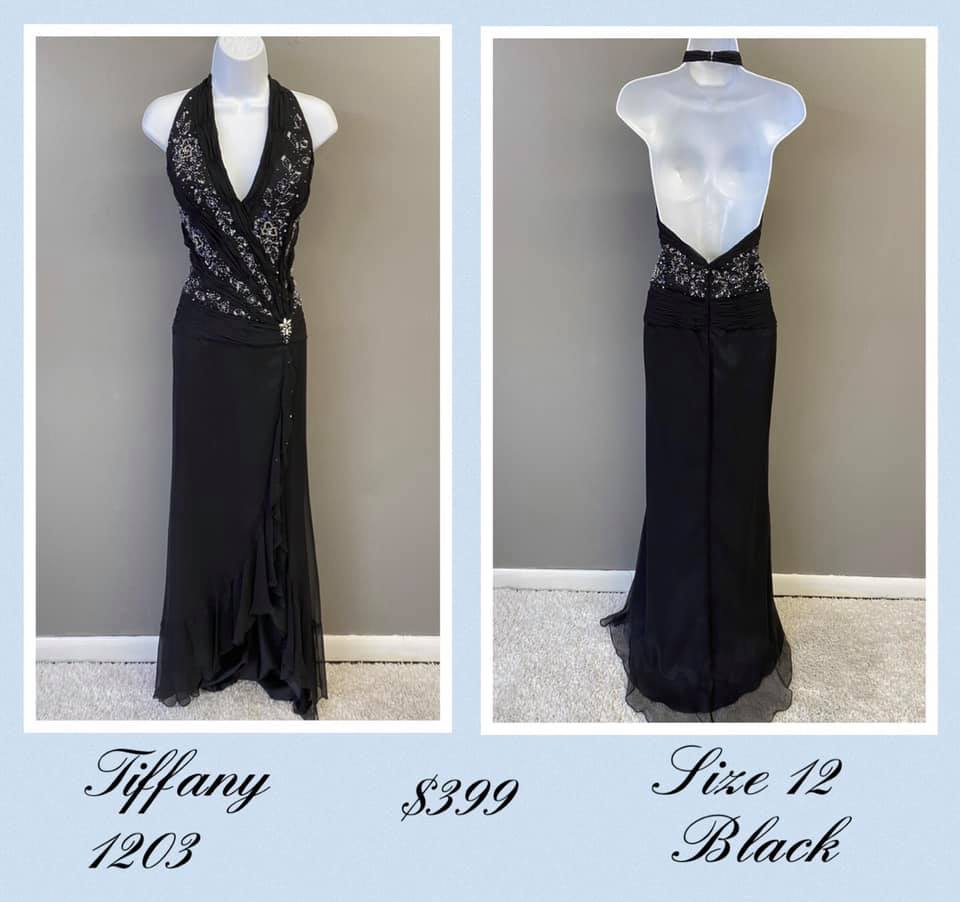 Queenly size 12 Tiffany Designs Black A-line evening gown/formal dress