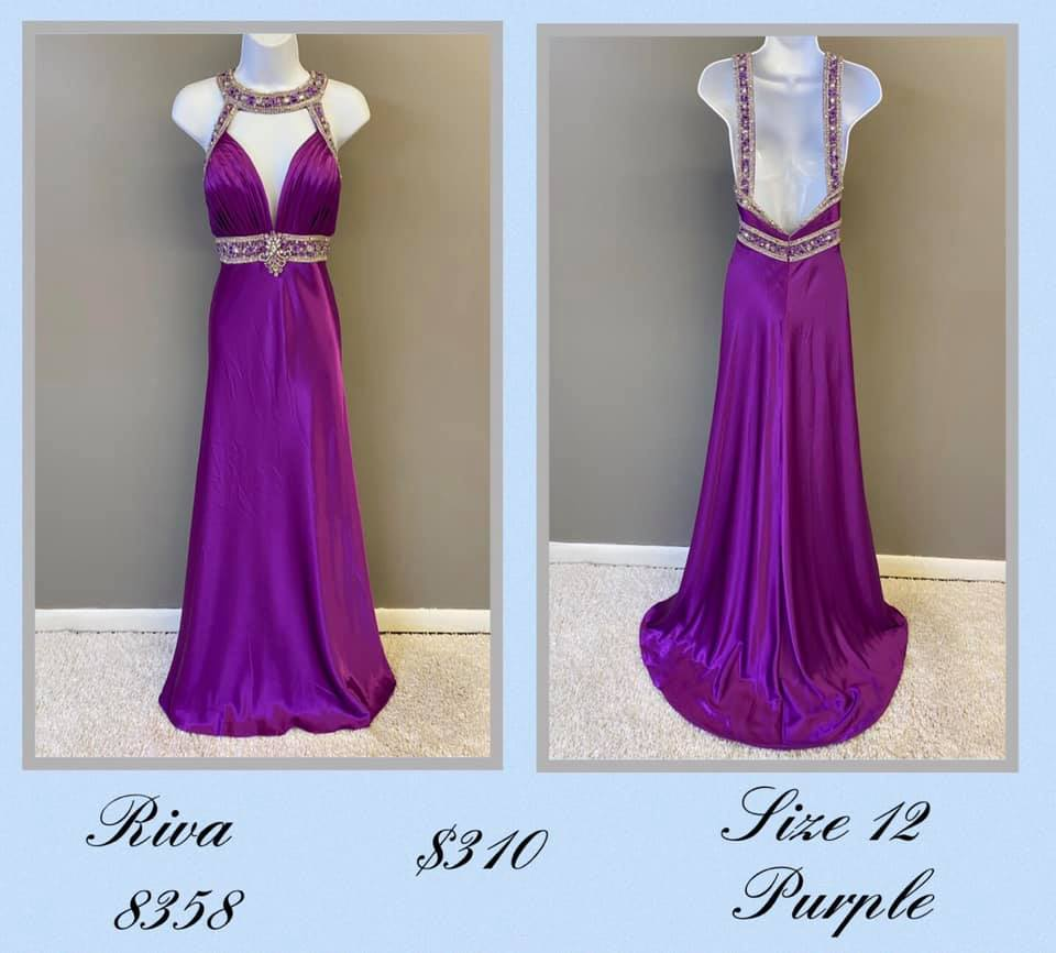 Queenly size 12 Riva Purple A-line evening gown/formal dress
