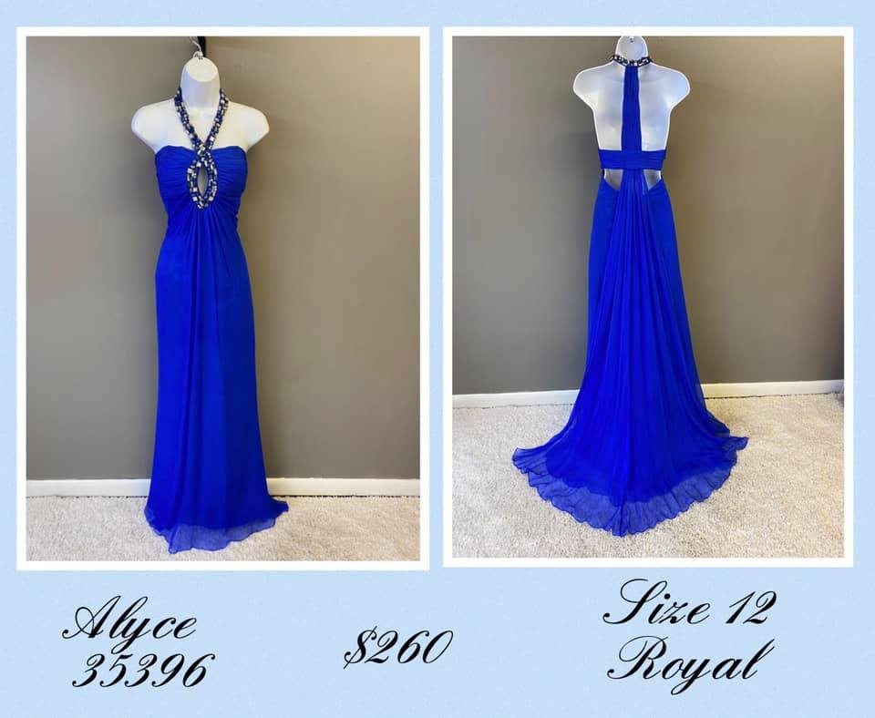 Queenly size 12 Alyce Paris Blue A-line evening gown/formal dress