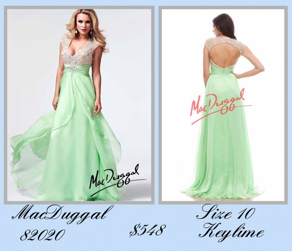 Queenly size 12 Mac Duggal Green A-line evening gown/formal dress
