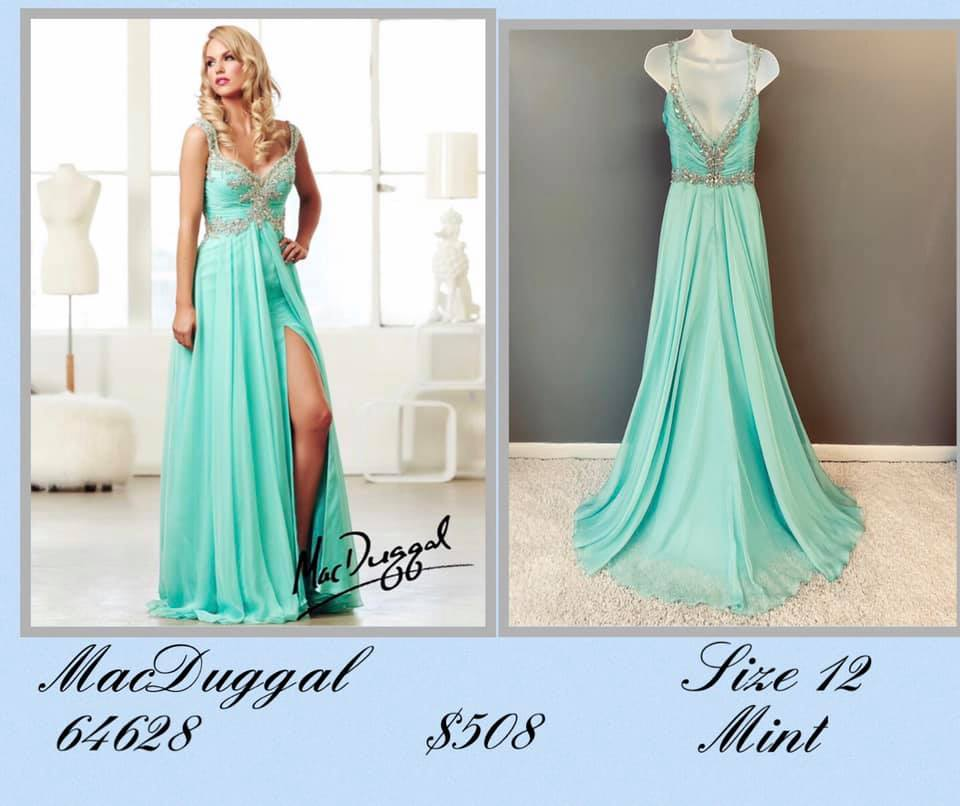 Queenly size 12 Mac Duggal Green Side slit evening gown/formal dress