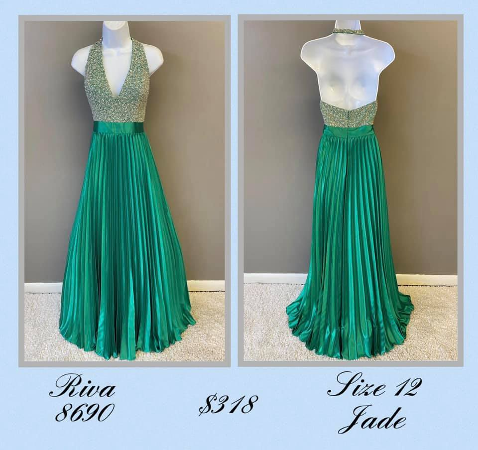 Queenly size 12 Riva Green A-line evening gown/formal dress