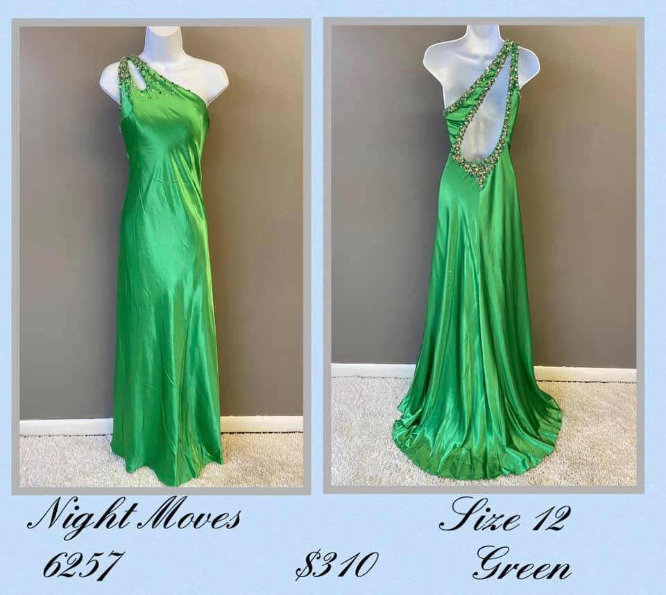 Queenly size 12 Night Moves Green A-line evening gown/formal dress