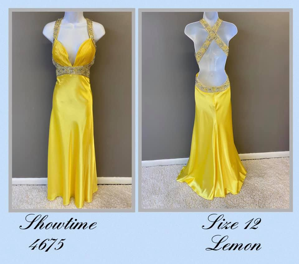 Queenly size 12 Showtime Yellow A-line evening gown/formal dress
