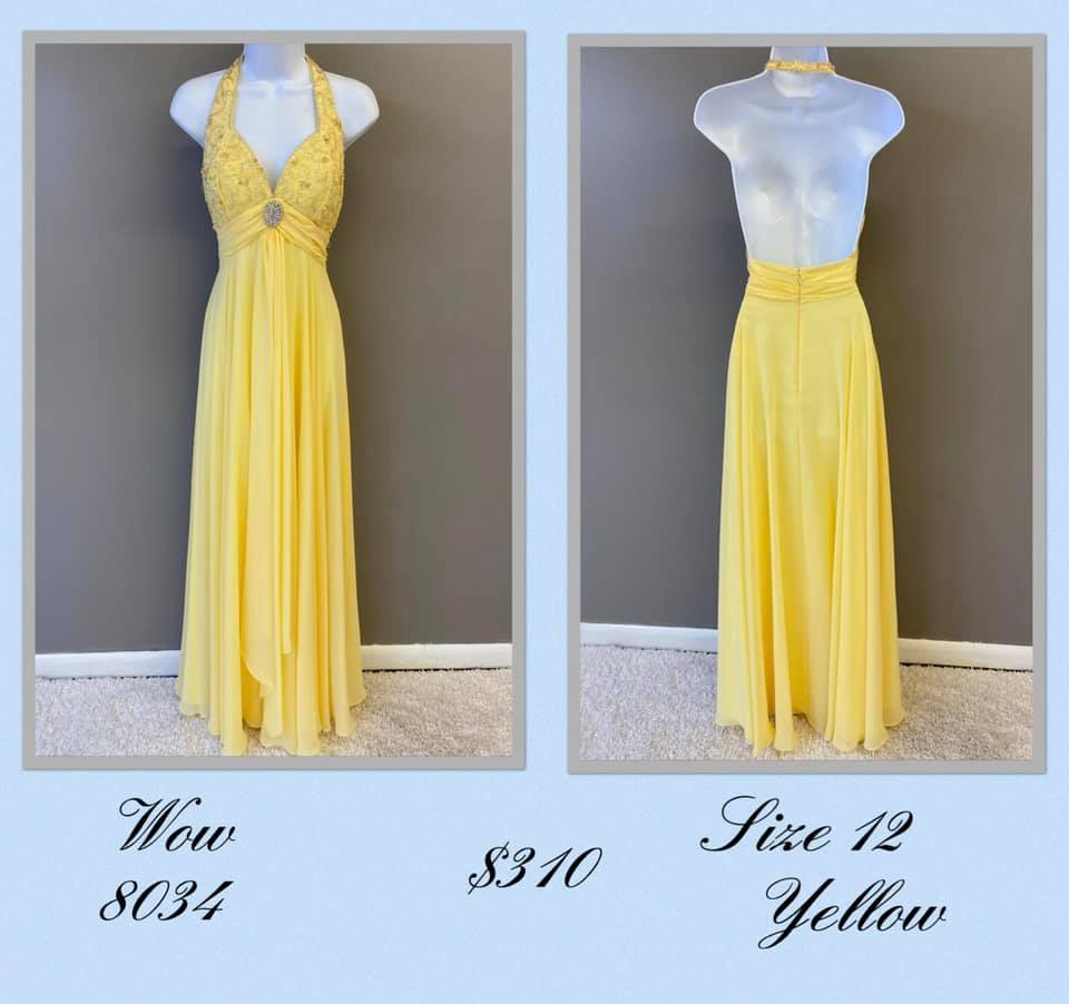 Queenly size 12 Wow Yellow A-line evening gown/formal dress