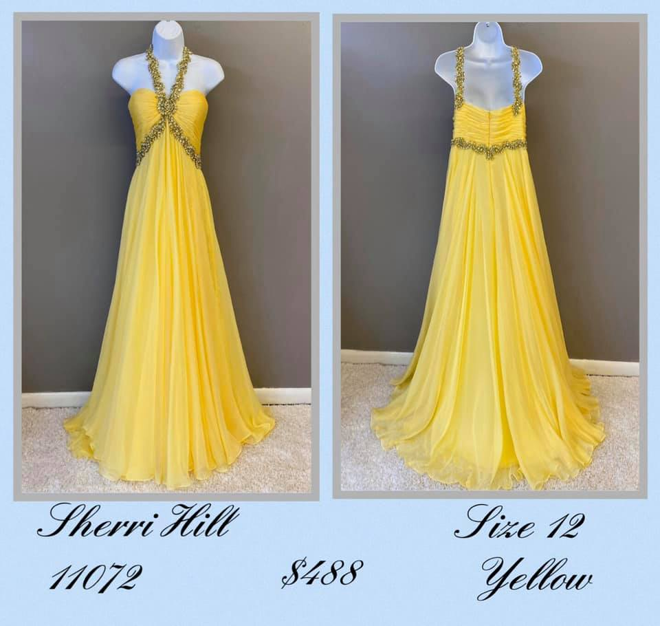 Queenly size 12 Sherri Hill Yellow A-line evening gown/formal dress