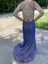 Sherri Hill Purple Size 4 Backless Train Mermaid Dress on Queenly
