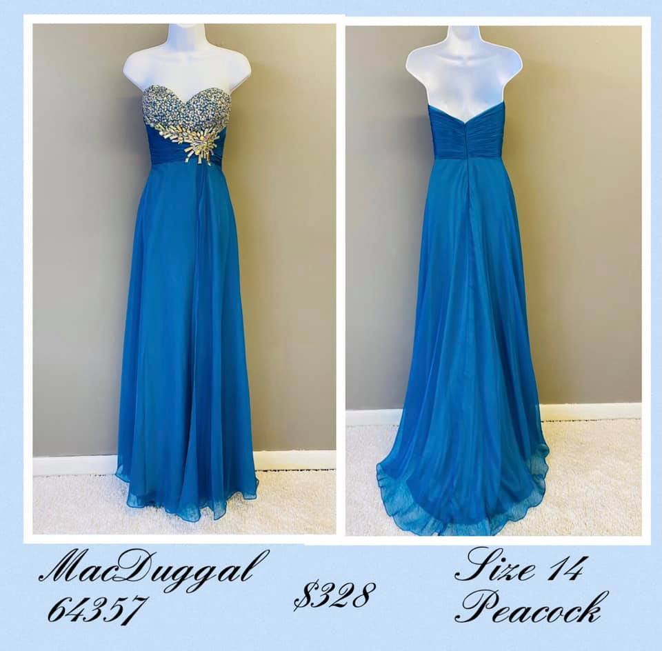 Queenly size 14 Mac Duggal Blue A-line evening gown/formal dress