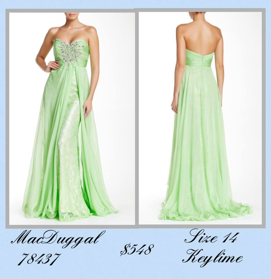 Queenly size 14 Mac Duggal Green A-line evening gown/formal dress