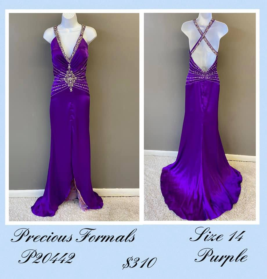 Queenly size 14 Precious Formals Purple A-line evening gown/formal dress
