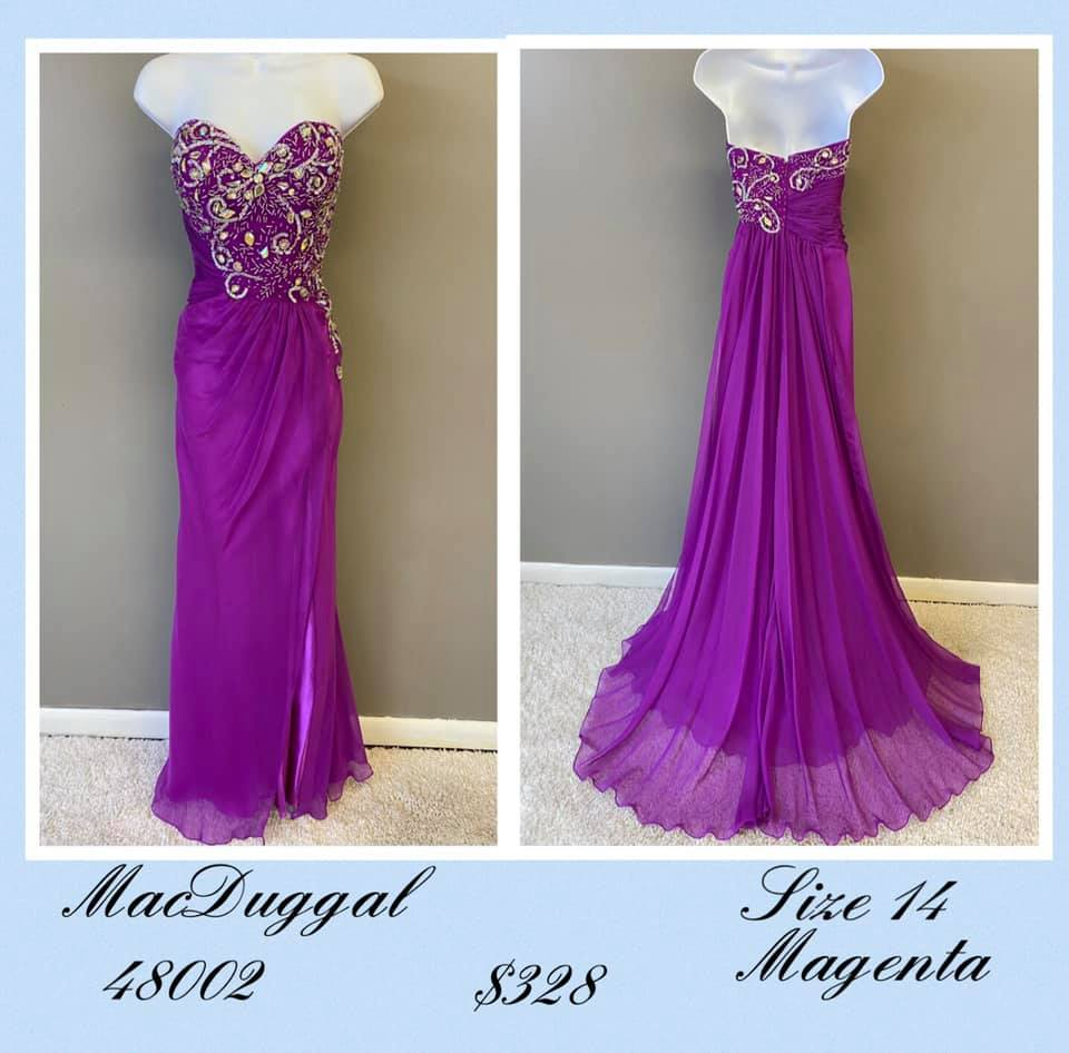 Queenly size 14 Mac Duggal Purple A-line evening gown/formal dress