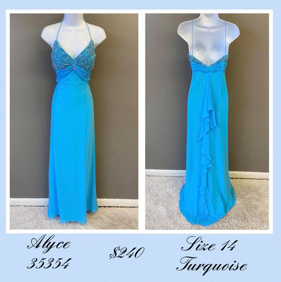 Queenly size 14 Alyce Paris Blue A-line evening gown/formal dress