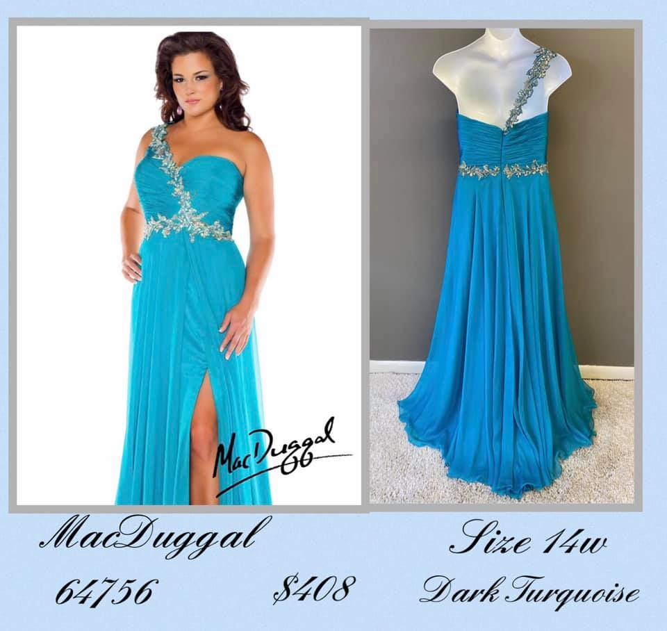 Queenly size 14 Mac Duggal Blue Side slit evening gown/formal dress