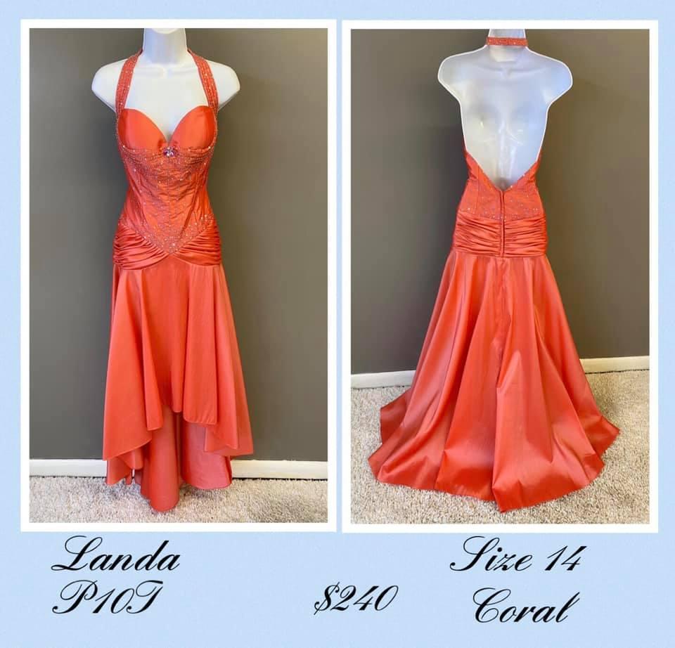 Queenly size 14 Landa Orange A-line evening gown/formal dress