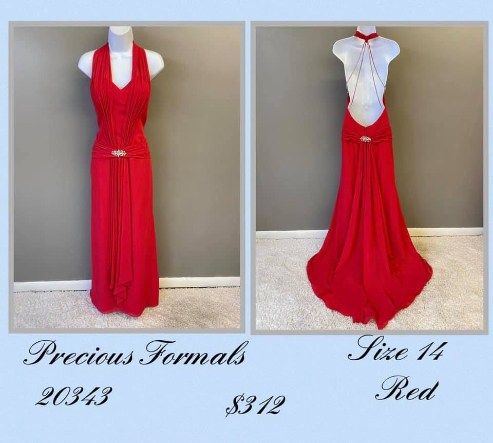 Queenly size 14 Precious Formals Red A-line evening gown/formal dress