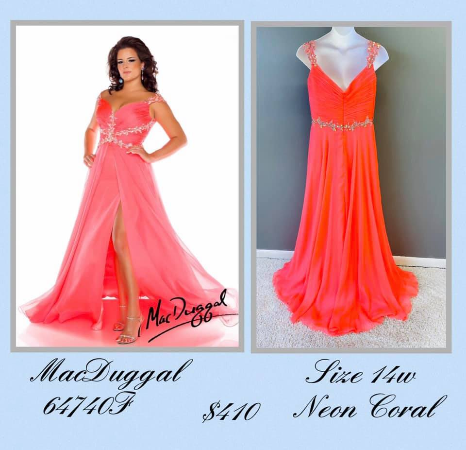 Queenly size 14 Mac Duggal Orange Side slit evening gown/formal dress