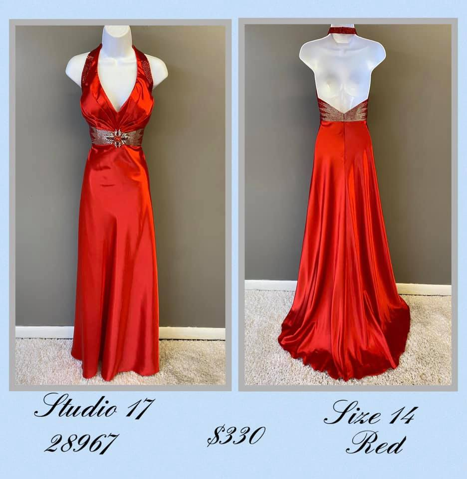 Queenly size 14 Studio 17 Red A-line evening gown/formal dress
