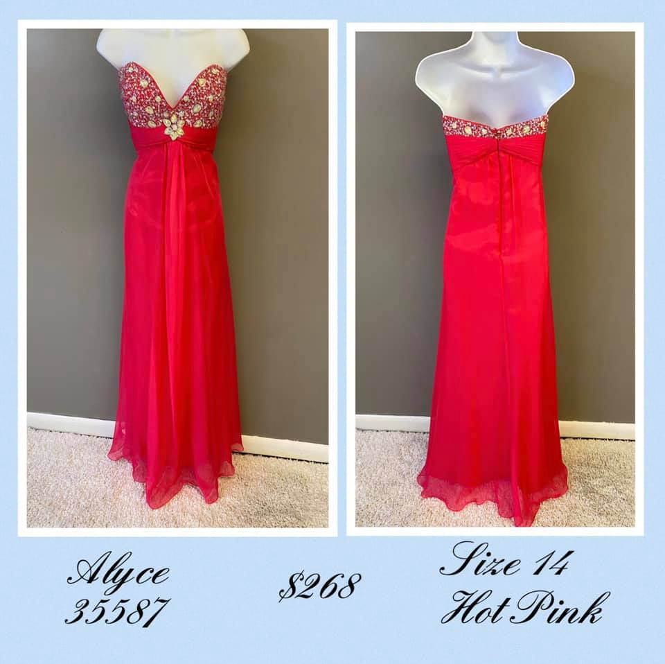 Queenly size 14 Alyce Paris Pink A-line evening gown/formal dress