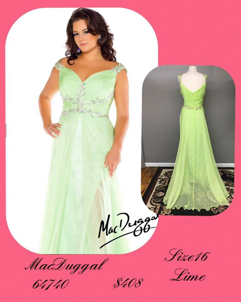 Queenly size 16 Mac Duggal Green A-line evening gown/formal dress