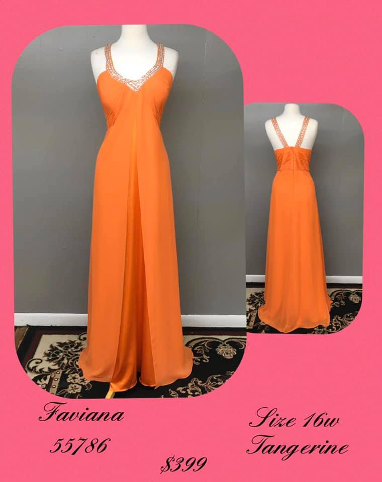 Queenly size 16 Faviana Orange A-line evening gown/formal dress