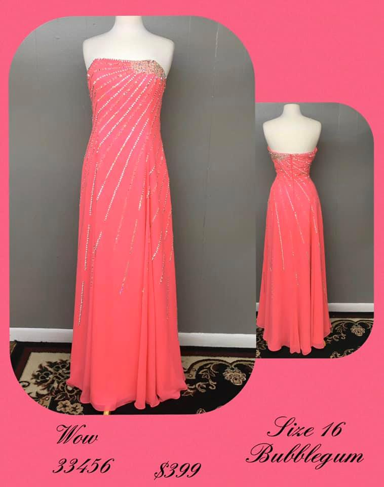 Queenly size 16 Wow Pink A-line evening gown/formal dress