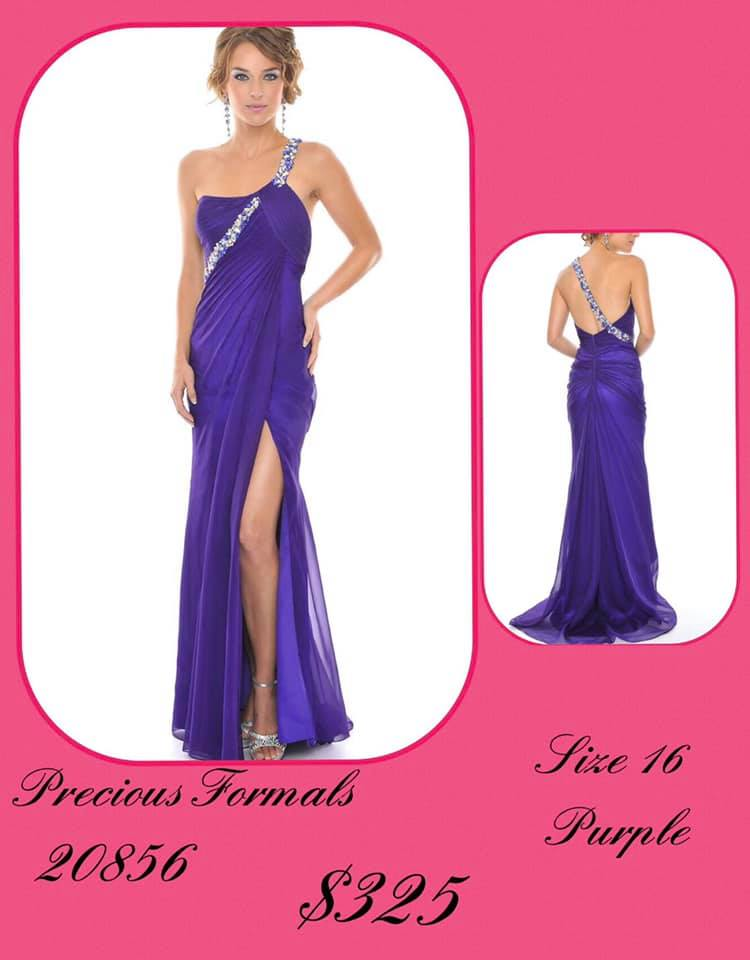 Queenly size 16 Precious Formal Purple Side slit evening gown/formal dress