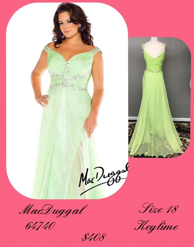 Queenly size 18 Mac Duggal Green A-line evening gown/formal dress