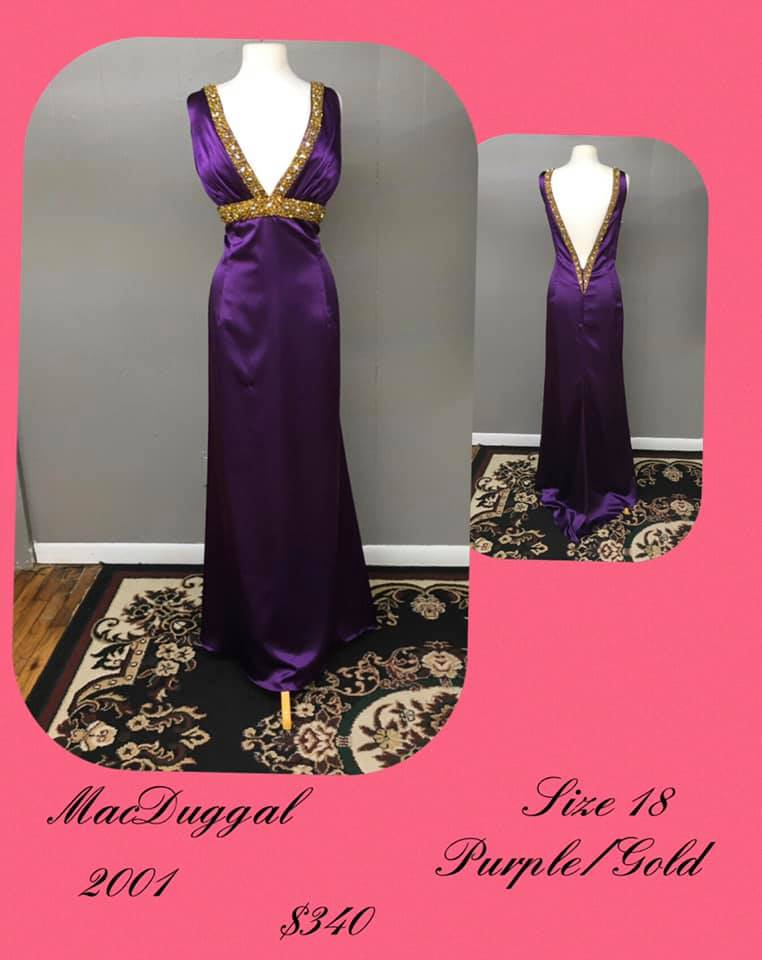 Queenly size 18 Mac Duggal Purple A-line evening gown/formal dress