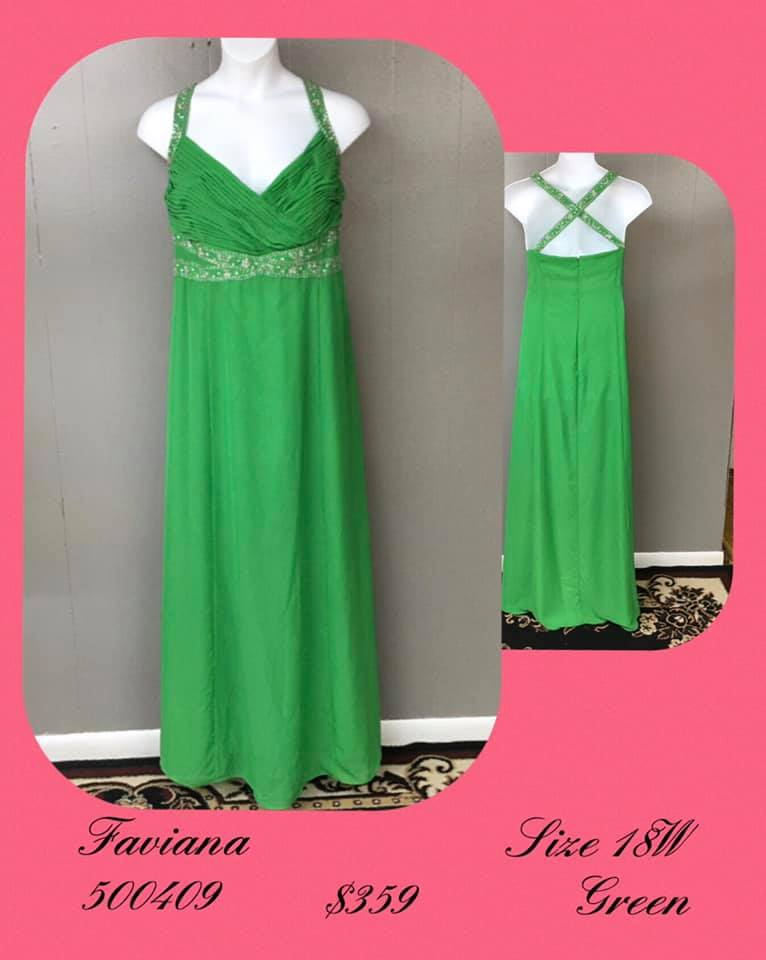 Queenly size 18 Faviana Green A-line evening gown/formal dress