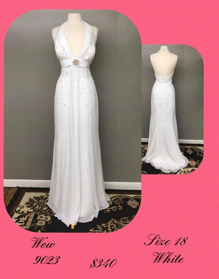 Queenly size 18 Wow White A-line evening gown/formal dress