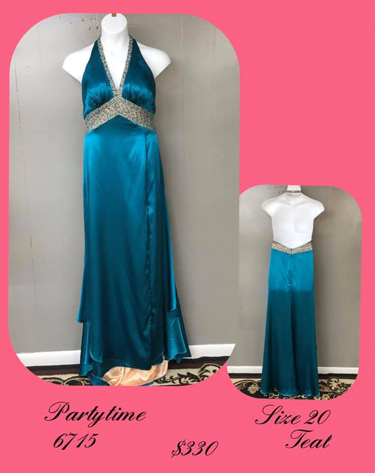 Queenly size 20 Party Time Formals Blue A-line evening gown/formal dress