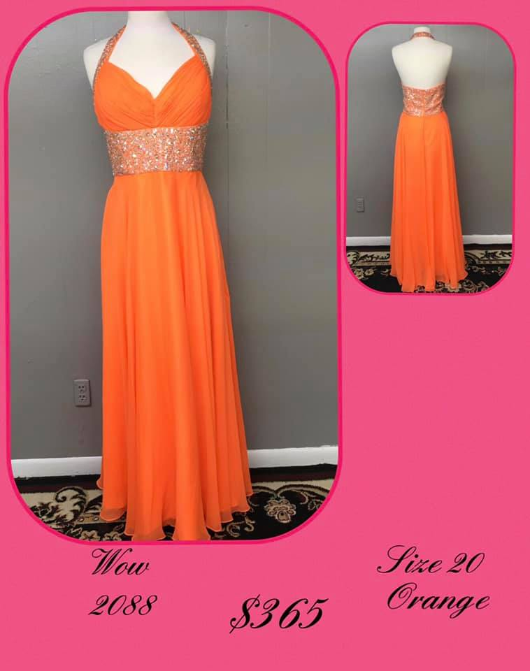 Queenly size 20 Wow Orange A-line evening gown/formal dress