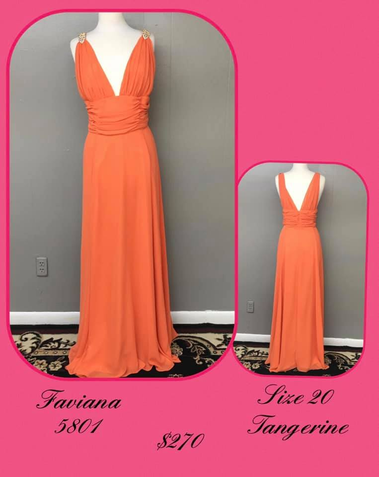 Queenly size 20 Faviana Orange A-line evening gown/formal dress