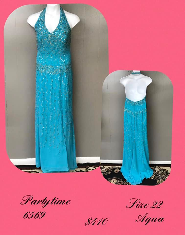 Queenly size 22 Party Time Formals Blue A-line evening gown/formal dress