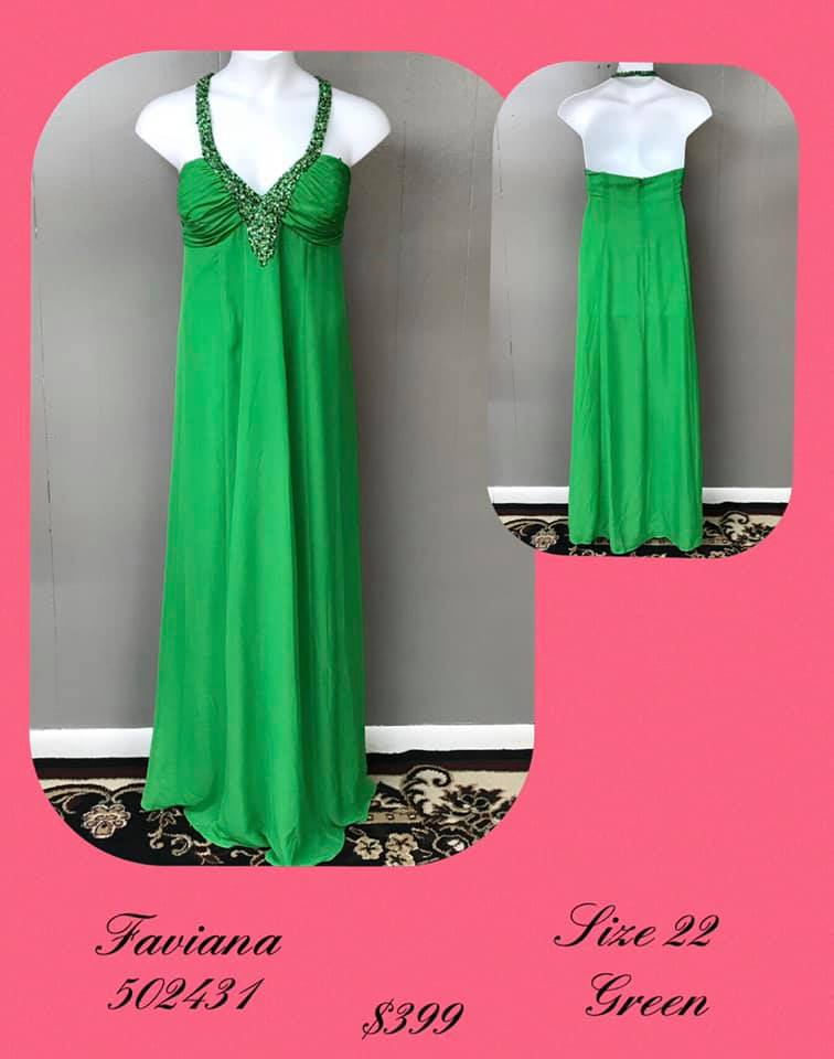 Queenly size 22 Faviana Green A-line evening gown/formal dress