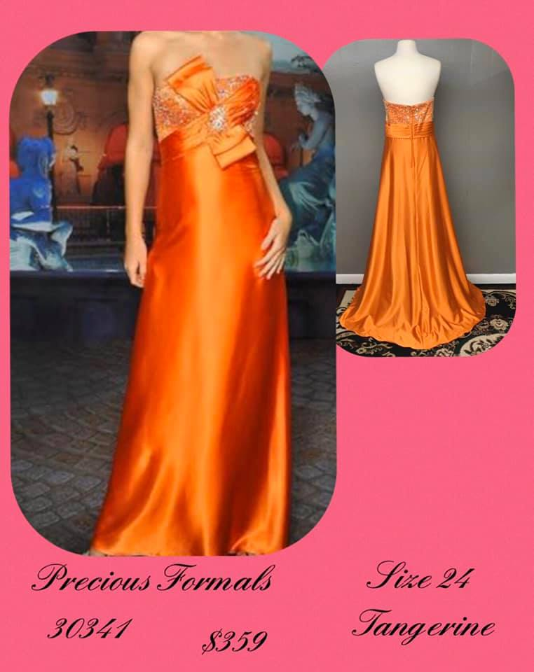 Queenly size 24 Precious Formals Orange A-line evening gown/formal dress