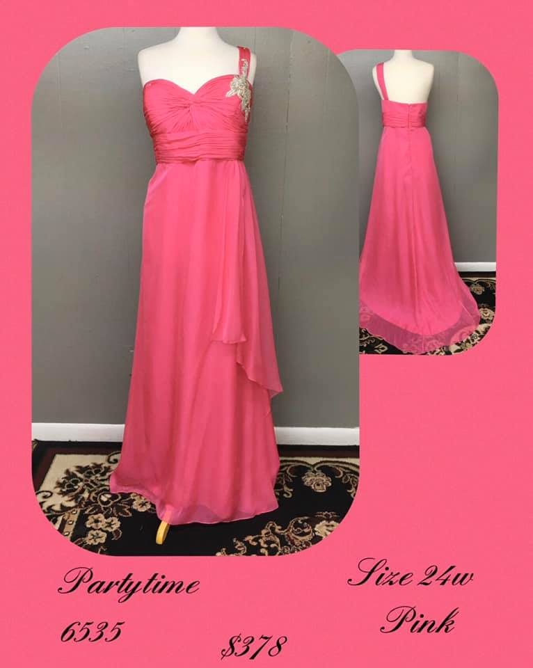 Queenly size 24 Party Time Formals Pink A-line evening gown/formal dress