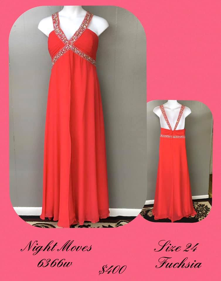 Queenly size 24 Night Moves Pink A-line evening gown/formal dress