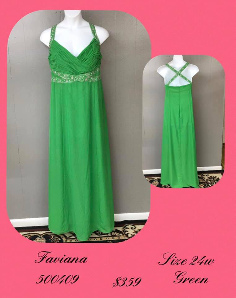 Queenly size 24 Faviana Green A-line evening gown/formal dress