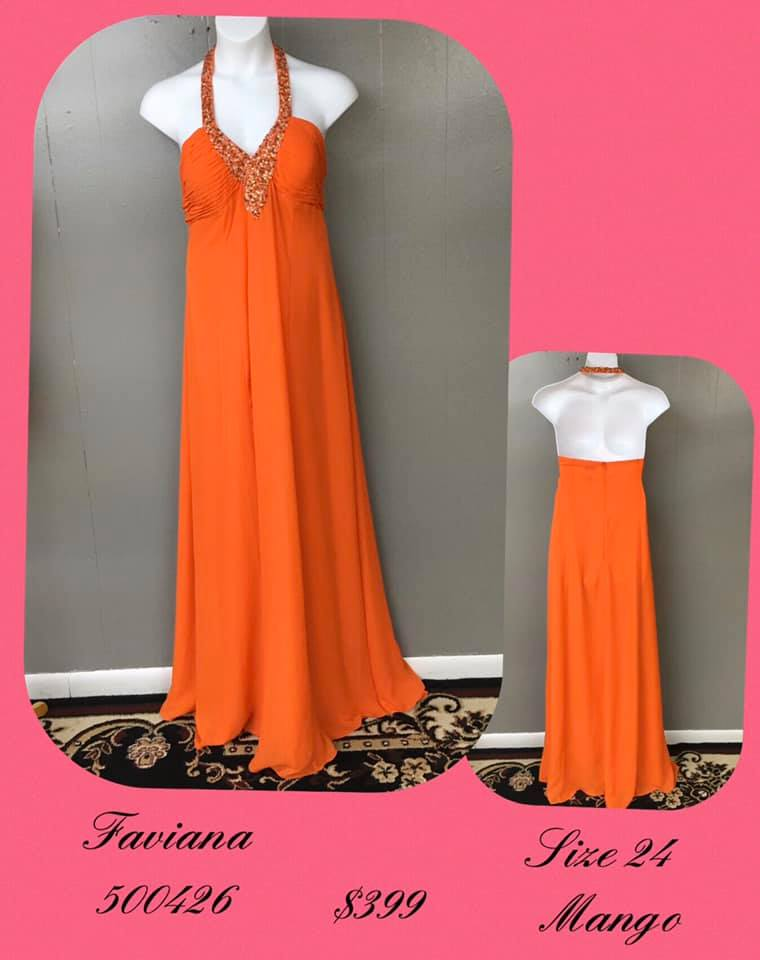 Queenly size 24 Faviana Orange A-line evening gown/formal dress