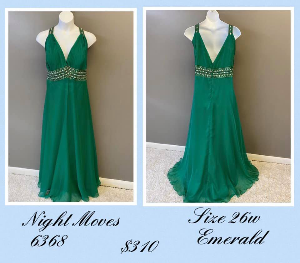 Queenly size 26 Night Moves Green A-line evening gown/formal dress