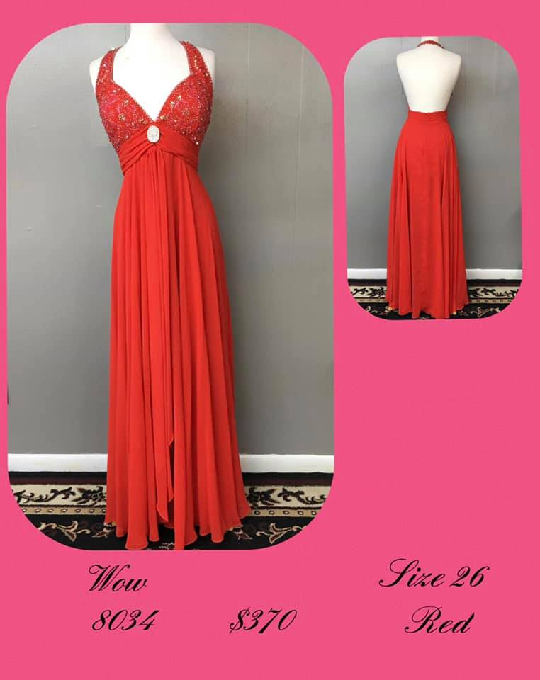 Queenly size 26 Wow Red A-line evening gown/formal dress
