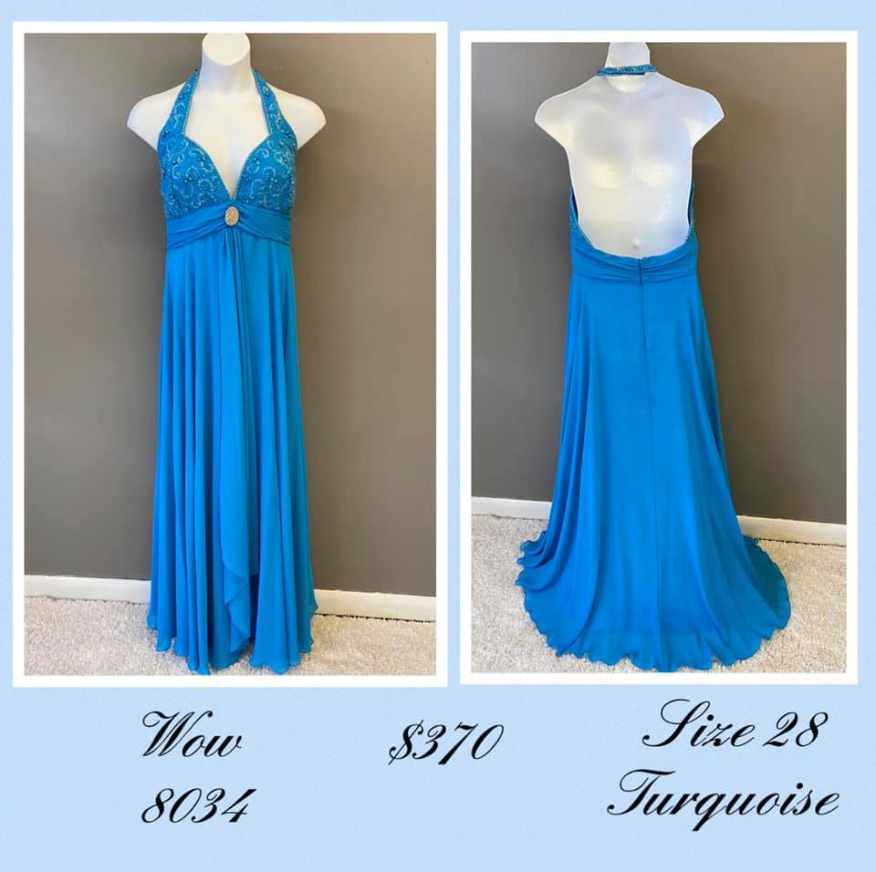 Queenly size 28 Wow Blue A-line evening gown/formal dress