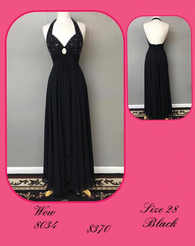 Queenly size 28 Wow Black A-line evening gown/formal dress