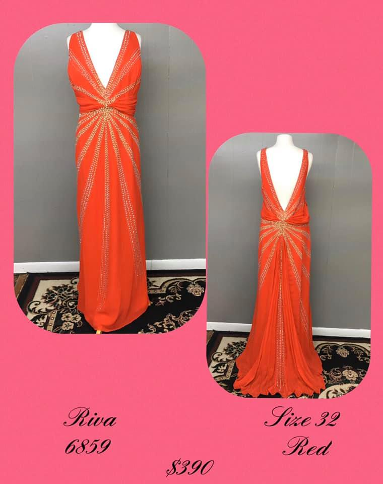 Queenly size 32 Riva Red A-line evening gown/formal dress